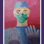 """""""В поддержку врачей"""" и """"Автопортрет""""- работы учеников в рамках конкурса """"Мы вместе""""."""